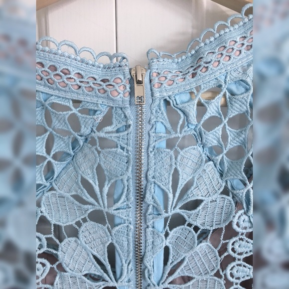 None Dresses Teal Guipure Lace Mini Dress With Puffy
